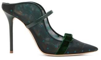 Malone Souliers Marguerite Velvet Bow Mesh Mules - Womens - Green