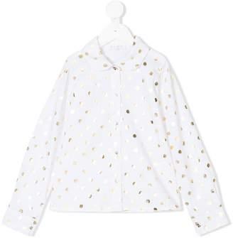 Elsy metallic polka-dot shirt