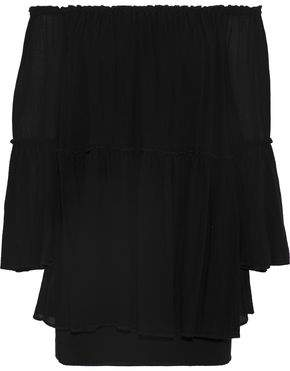 Bailey 44 Waterfall Off-the-shoulder Layered Gauze And Crepe Mini Dress