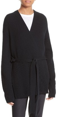 Women's Helmut Lang Wool & Cashmere Belted Wrap Cardigan $460 thestylecure.com