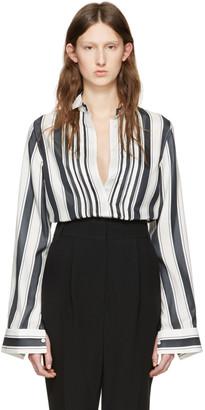 Haider Ackermann White Striped Silk Shirt $930 thestylecure.com