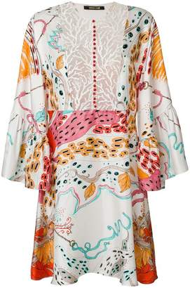 Roberto Cavalli printed and embroidered front mini dress