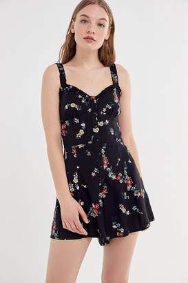 Urban Outfitters Floral Ruffle Button-Front Romper