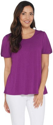 Halston H By H by Knit Crepe Scoop Neck Top with Twist Sleeve Detail