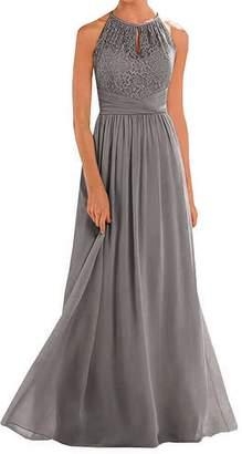 Annadress Women's Halter Lace A-line Chiffon Floor-Length Bridesmaid Dress Dark Grey