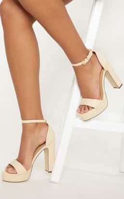 PrettyLittleThing Taya Nude PU Platform Sandals
