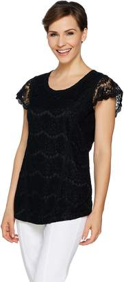 Isaac Mizrahi Live! Scallop Lace Tunic with Flutter Sleeves
