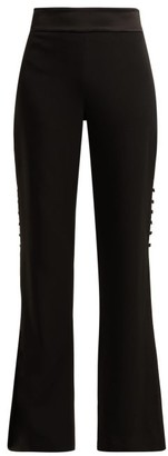 Jonathan Simkhai High Rise Flared Crepe Trousers - Womens - Black