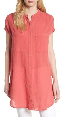 Caslon Button Front Longline Top