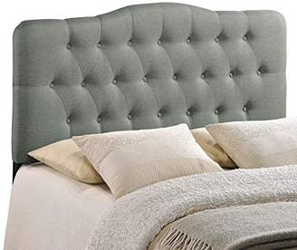 Modway Annabel Upholstered Tufted Button Fabric Headboard Queen Size In Gray