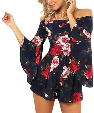Forart Women's Summer Sexy Playsuits Off Shoulder Speaker Sleeve Rompers Floral Printed Jumpsuits