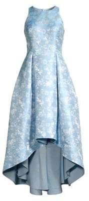 Aidan Mattox Metallic Floral High-Low Dress