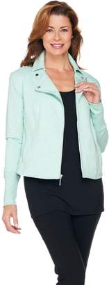 Halston H By H by French Terry Motorcycle Jacket with Rib Detail