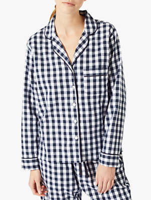 Jigsaw Molly Checked Pyjama Set, Dark Navy