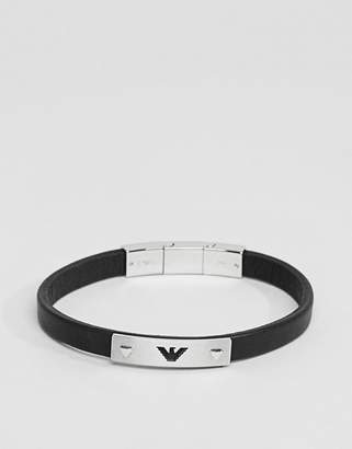 Emporio Armani Leather Eagle Bracelet In Black