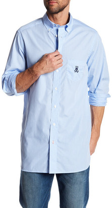 Psycho Bunny Micro-Check Long Sleeve Regular Fit Shirt $135 thestylecure.com