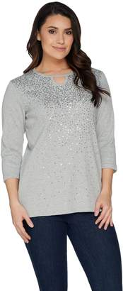 Factory Quacker Keyhole Neck Rib Knit T-shirt with Sequin Detail