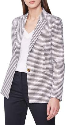 Reiss Carley Houndstooth Check Stretch Cotton Jacket