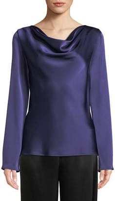 St. John Lightweight Liquid Satin Cowl-Neck Blouse