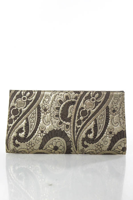 CelineCeline Gold Silk Metallic Brocade Embossed Interior Small Clutch Handbag