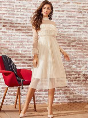 Shein SBetro Frilled Neckline Pleated Sheer Mesh Dress