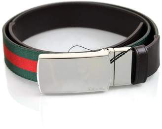 Gucci Unisex Web/Leather GRG Metal Buckle Belt 256280 (100/40)