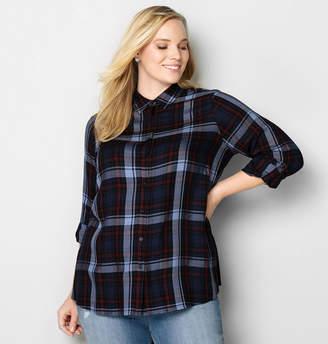 Avenue Roll Tab Sleeve Plaid Shirt