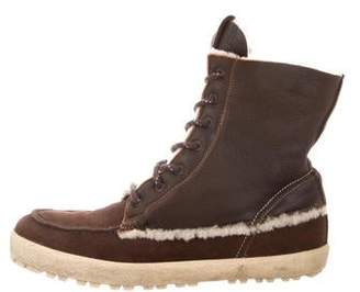 Moncler Shearling Moccasin Boots