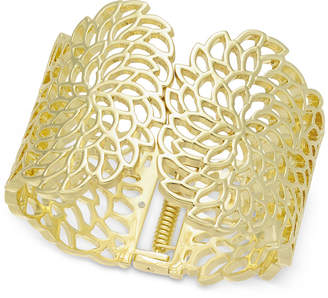 INC International Concepts I.n.c. Gold-Tone Flower Wide Hinged Cuff Bracelet, Created for Macy's
