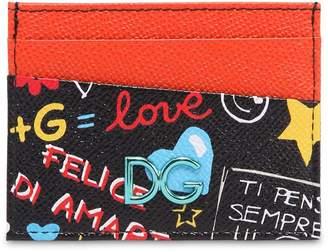 Dolce & Gabbana Graffiti Leather Card Holder