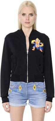Moschino Monkey Printed Zip-Up Cotton Sweatshirt