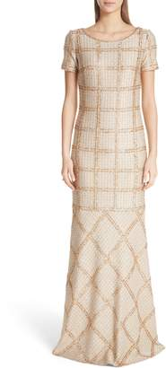 St. John Golden Glad Plaid Gown