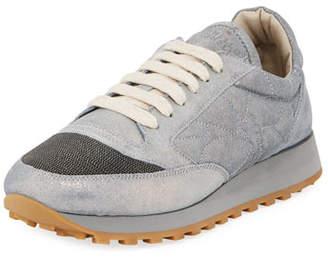 Brunello Cucinelli Metallic Leather Monili Trainer Sneakers