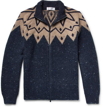 Brunello Cucinelli Fair Isle Virgin Wool-Blend Zip-Up Cardigan