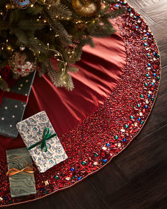 Kim Seybert Sparkling Jewel Tones Beaded Tree Skirt