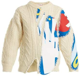Charles Jeffrey Loverboy - Print Applique Cable Knit Wool Blend Sweater - Womens - Cream Multi