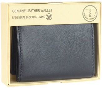 Montauk Leather Club Men's RFID Signal Blocking Genuine Leather Trifold Wallet with Gift Box