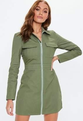 Missguided Khaki Zip Through Skater Shirt Dress
