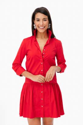 The Shirt By Rochelle Behrens Red Drop Waist Shirt Dress