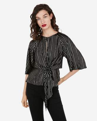 Express Metallic Striped Flutter Sleeve Cut-Out Tie Front Blouse