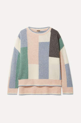 ADAM by Adam Lippes Color-block Cashmere And Silk-blend Sweater - Blue