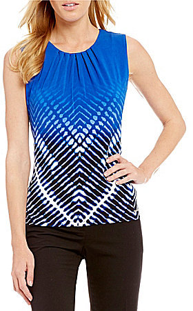 Calvin Klein Ombre Chevron Print Matte Jersey Pleat Neck Shell