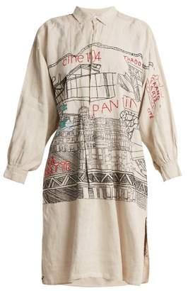 Kilometre paris Kilometre Paris - Pantin Embroidered Vintage Linen Shirtdress - Womens - Multi