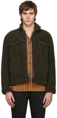 Naked & Famous Denim Denim Green Fleece Jacket