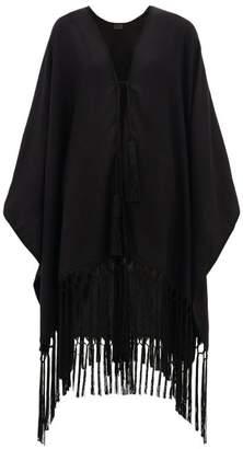 Saint Laurent Suede Tasselled Cashmere Poncho - Womens - Black