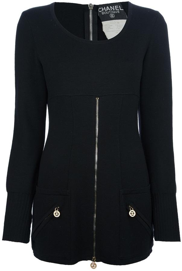 Chanel zip detailed sweater