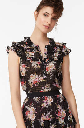 Rebecca Taylor Bouquet Floral Ruffle Top