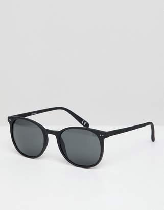 Asos Design Square Sunglasses In Matte Black With Smoke Lens
