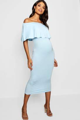boohoo Maternity Off The Shoulder Midi Dress