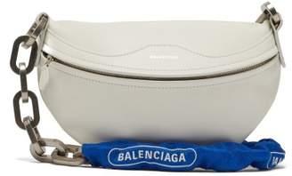 Balenciaga Souvenir Xs Bike Chain Leather Bag - Womens - White Multi